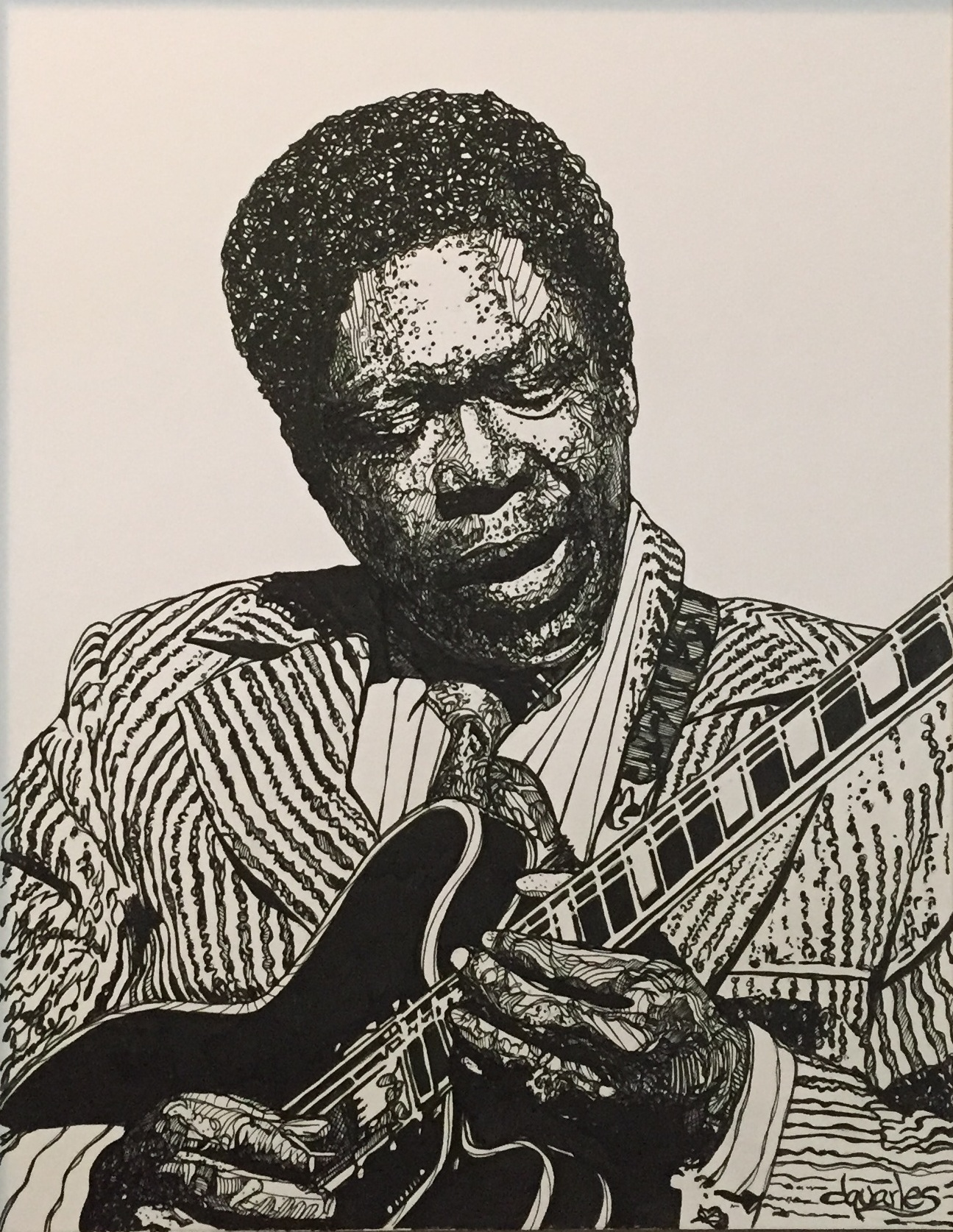 BB King, pen and Ink on board